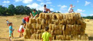 Fardos de paja (jugando en el campo)